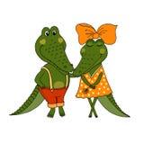 Dois crocodilos bonitos caídos no amor ilustração do vetor