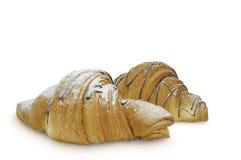 Dois croissant isolaram o backgrond do branco do OM Foto de Stock Royalty Free