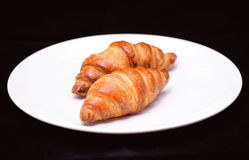 Dois croissants Fotos de Stock Royalty Free