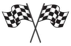 dois cruzaram bandeiras checkered Fotografia de Stock