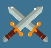 Dois cruzaram espadas de Ásia com dos desenhos animados tradicionais da arma do samurai dos punhos do ouro ilustração lisa do vet Foto de Stock Royalty Free