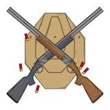 Dois cruzaram espingardas com alvo e munição, ilustração do vetor isolada no fundo branco Arma da caça Fotos de Stock