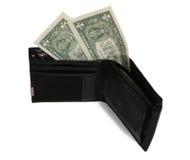 Dois dólares na carteira Fotografia de Stock