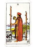 2 dois da estada física das decisões do cartão de tarô das varinhas ou vão curso sobre mares ilustração do vetor
