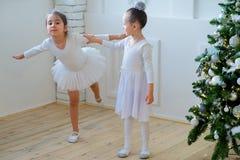 Dois dançarinos de bailado novos que aprendem a lição perto da árvore de Natal foto de stock royalty free