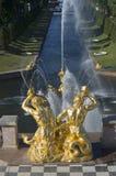 Dois de shell de sopro de Triton sobre um grande canal do mar Fragmento da cascata grande, Peterhof Imagem de Stock