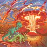 Dois dinossauros olham o apocalipse ilustração do vetor