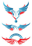 Dois dirigiram a mascote do esporte da águia Fotos de Stock Royalty Free