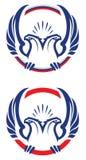 Dois dirigiram a mascote do esporte da águia Imagens de Stock Royalty Free