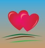 Dois dos corações Imagens de Stock Royalty Free