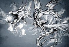 Dois dragões, ilustração da fantasia Imagem de Stock Royalty Free