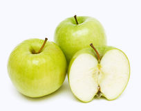 Dois e maçãs de uma metade Foto de Stock Royalty Free