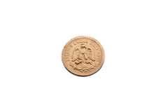 Dois e uma meia moeda de ouro dos pesos mexicanos Fotos de Stock