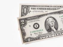 Dois e uns dólares de contas Fotografia de Stock Royalty Free