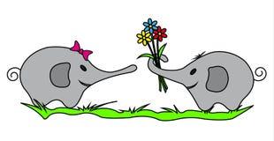 Dois elefantes com flores coloridas Fotos de Stock Royalty Free