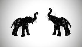 Dois elefantes pretos do poligonal Fotografia de Stock Royalty Free