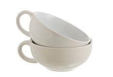 Dois empilharam os copos cerâmicos brancos da sopa Imagem de Stock Royalty Free