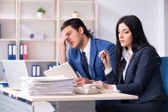 Dois empregados que trabalham no escrit?rio foto de stock