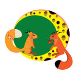 Dois esquilos na lua. ilustração stock