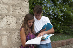 dois estudantes com o livro no terreno Foto de Stock Royalty Free
