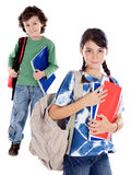 Dois estudantes das pequenas mercadorias Fotografia de Stock Royalty Free