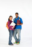 Dois estudantes eretos - vertical Fotos de Stock Royalty Free