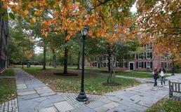 Dois estudantes fêmeas cruzam o quadrilátero no terreno velho em Yale University no outono Fotografia de Stock Royalty Free