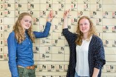 Dois estudantes fêmeas que apontam na tabela periódica na química menos Foto de Stock