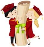 Dois estudantes graduados que guardam o grau gigante ilustração stock