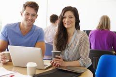 Dois estudantes maduros que trabalham junto usando o portátil foto de stock