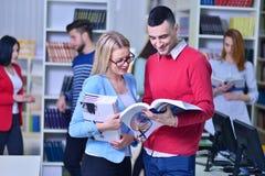 Dois estudantes novos que trabalham junto na biblioteca Foto de Stock Royalty Free