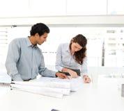 Dois executivos que olham um projeto novo Imagens de Stock Royalty Free