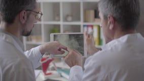 Dois experimentaram os doutores masculinos que verificam o raio X dos pulmões na tabuleta, discutindo Conceito da medicina, cuida filme