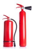 Dois extintores no branco Foto de Stock Royalty Free