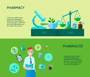 Dois farmacêutico Banner Set Foto de Stock