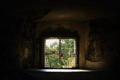 Dois fechamentos em uma janela velha rústica em um velho demulido em um ensolarado fotografia de stock