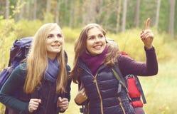 Dois felizes e meninas bonitas que andam na floresta e nos pântanos acampamento fotografia de stock royalty free