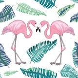 Dois flamingos com os bicos junto com o aroud tropical verde das folhas ilustração do vetor
