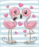 Dois flamingos dos desenhos animados em um fundo azul ilustração stock
