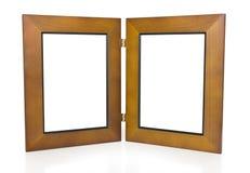Dois frames de retrato articulados de madeira imagem de stock