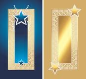 Dois frames dourados com estrelas de brilho Fotografia de Stock Royalty Free
