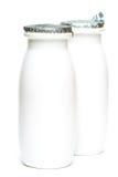 Dois frascos com leite Foto de Stock