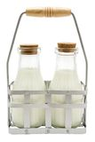 Dois frascos de leite Foto de Stock Royalty Free