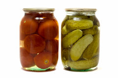 Dois frascos de vidro Imagens de Stock Royalty Free