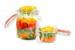 Dois frascos de vidro com os grampos com vegetais coloridos Imagens de Stock