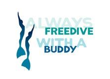 Dois freedivers nos monofins Sempre freedive com um amigo Fotografia de Stock Royalty Free