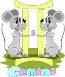 Dois gêmeos dos ratos e símbolos dos Gêmeos ilustração do vetor