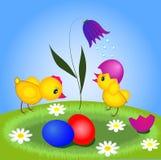Dois galinhas e ovos de easter Foto de Stock Royalty Free