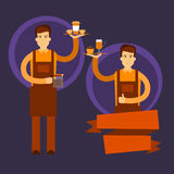 Dois garçom Hold Cup Coffee Barista Work Place Cafe Imagens de Stock