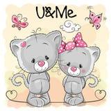 Dois gatinhos bonitos ilustração do vetor